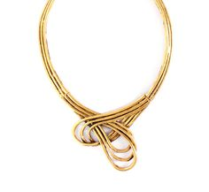 Gold statement necklace with a metal weaved rope textured design.