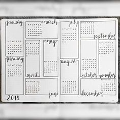 journal year at a glance, bullet journal future log. journal year at a glance, bullet journal future log. Bullet Journal Inspo, Future Log Bullet Journal, Bullet Journal Agenda, Bullet Journal Aesthetic, Bullet Journal Ideas Pages, Bullet Journal Spread, Bullet Journal Layout, Journal Pages, Bullet Journal Year At A Glance 2018