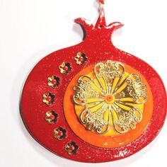 ROSH HASHANAH gift Wall decor red Pomegranate by ShuliDesigns, $31.00