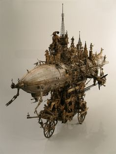 'Caravan assault apparatus' steampunk sculpture by Kris Kuksi.