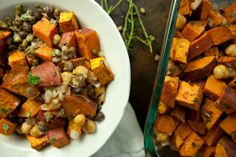 Roasted Fall Sweet Potatoes and Chickpeas with Sprouted Beans | Produce On Parade