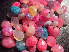 Neon Rainbow Veined CHALCEDONY Faceted Pear by amandalynnesupplies, $9.99