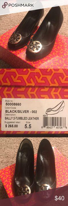 5f9c1829d42bc6 Tori Burch Sally 2 black leather slip on heel Tumbled real leather slip on.  Cute