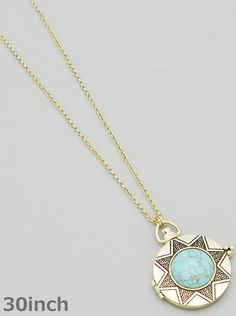 A fun pendant necklace to add a bold look to any outfit. It conceals a magnifying glass by opening the pendant up like a locket. - Color : ANTIQUE GOLD-TURQUOISE - Size : 30inch with 3inch ext