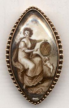 "most likely a marriage piece or love token as dogs were symbols of fidelity in that age....note the hairwork in the ""circle"" the woman is holding.  Circa 1790-1820"