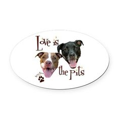 Love is the Pits Oval Car Magnet