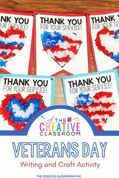 Use this activity and craft to create a memorable pennant banner for service men and women in your community as you celebrate Veterans Day. String the banner together and hang this craft in your classroom and send it off to those that help protect and defend our country! The pennants also have an area for a kind letter to show your appreciation on the back. #TheCreativeClassroom Kindness Activities, Preschool Learning Activities, Writing Activities, Classroom Activities, Classroom Decor, Teaching Ideas, Holiday Activities For Kids, Elementary School Counseling, Veterans Day