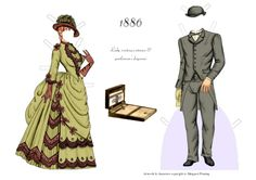 1886 Lady's Visiting Costume Gentleman's Day Wear FASHIONABLE COUPLE Gertie and Arthur of the 1880s by Margaret Fleming