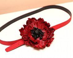 Red Leather Flower Poppy Belt art.S46R73
