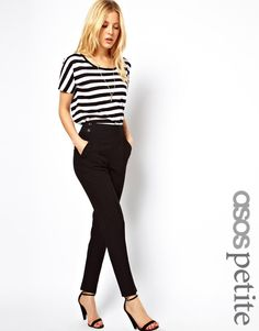 ASOS Petite   ASOS PETITE High Waisted Trousers With Button Detail at ASOS