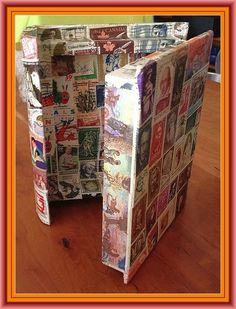 Book and Author Postage Stamp Crafts --book-shaped stampcoupage of books and authors on it -- stamp decoupage.  Look for Twain,Tolstoy, Frost, Shakespeare, et al.