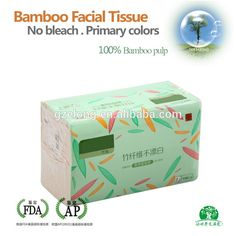 100%Virgin bamboo pulp Tissue Not bleach Natural Color Facial Tissue