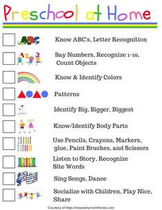 Preschool at Home - Free Printable! Ideas where to start teaching your child preschool at home, or helping reinforce what they are learning at school! preschool Preschool at Home - Free Printable Checklist Preschool Learning Activities, Preschool Lessons, Infant Activities, Teaching Kids, Homeschool Preschool Curriculum, At Home Toddler Activities, Pre K Curriculum, Preschool Assessment, Online Homeschooling
