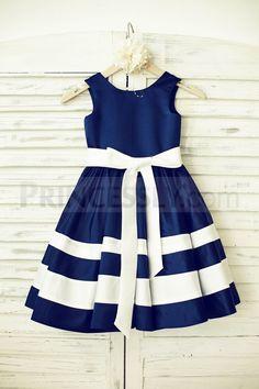 Navy Blue Satin Ivory Stripe Flower Girl Dress