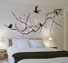 Wall Stickers - Simple and elegant feature in any room. A blossoming tree branch with birds.The original colours of this design are pink and brown Decoracion Low Cost, Wall Painting Decor, Flower Wall Decals, Family Tree Wall, Wall Drawing, Creative Walls, Wall Design, Wall Murals, Tree Murals