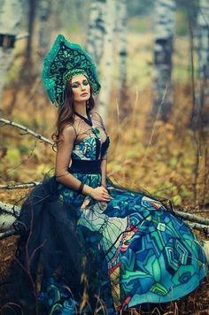 Russian-style art photograph, kokoshnik headdress