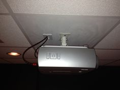 Projector mounted and wires ran through the drop ceiling with a brush plate