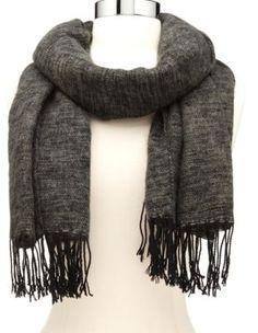 fringe-trim marled blanket scarf