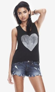 fbd23021324d3 BLACK ONE ELEVEN HEART GRAPHIC TANK from EXPRESS Casual Tops For Women