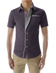 Sensual Mens Casual Short Sleeve Stripe Patched Fitted Dress Shirts at Amazon Men's Clothing store: