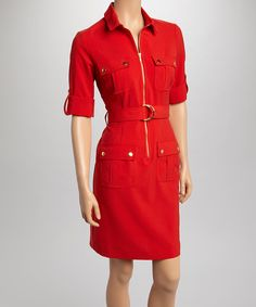 Look what I found on #zulily! Sharagano New Red Belted Shirt Dress by Sharagano #zulilyfinds @Sadie Smith this would be REALLY cute on you