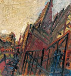 Frank Auerbach (b. Chimney in Mornington Crescent – Winter Morning, 1991 Frank Auerbach, Leon Kossoff, Study In London, Royal College Of Art, Urban Landscape, Landscape Paintings, Landscapes, Abstract Paintings, Painting & Drawing