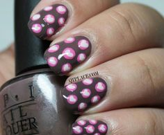Brown Paint w/pink polka dots w/lil white hearts in the middle of the dot!