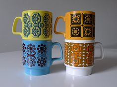 Mid Century Stacking Mugs Royal Alma Ironstone Made in by 905digs .....................................Please save this pin. ............................................................. Click on this link!.. http://www.ebay.com/usr/prestige_online