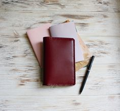 Marsala leather field notes cover - ideal for your pocket journal! Leather Notebook, Leather Journal, Sticker Organization, 3rd Anniversary Gifts, First Home Gifts, Stationary Supplies, Notebook Ideas, Planner Decorating, Sketchbook Ideas