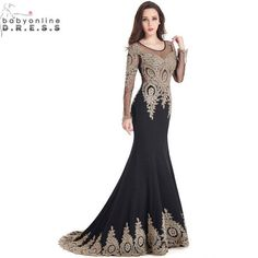 Robe de Soiree Longue Real Kaftan Dubai Black Long Sleeve Mermaid Evening  Dress 01ae2ba50931