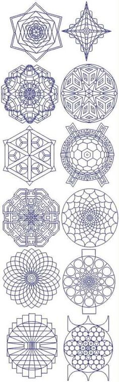 Diseños de Bordado Asombrosos Fractales - gran inspiración Mandala, también. Amazing fractal embroidery designs--great mandala inspiration, as well