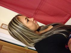 Gorgeous blonde highlights to contrast dark hair! Love how its all the way through on top and bottom!