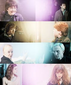 Harry Potter, Ron Weasley, Draco Malfoy, and Hermione Granger.