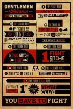 Fight Club - Rules Prints at AllPosters.com || Get 20% off and 5% cash back here http://www.studentrate.com/School/Deals/BackToSchool.aspx