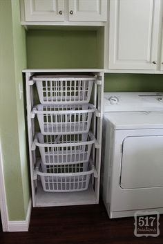 ...when my parents were here visiting a few months ago, I asked my dad to build me my very own laundry basket dresser to fit the space perfectly.  He actually just looked at a picture and created his own version, but it's similar to the plans that Ana White shares.