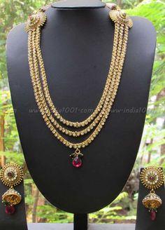 Stunning Long Pearl & Polki Necklace Set