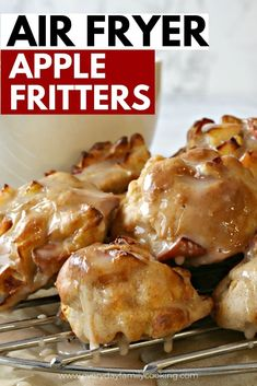 This air fryer dessert made with apples is coated in graham cracker crumbs and cinnamon and drizzled with caramel sauce for the perfect fall dessert. It's easy to make and the best apple treat you'll have this year. #airfryer #applefritters #airfryerdessert
