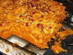 I tasted this dessert at a work office potluck, Pumpkin Pie Crunch. It was so good. Here is a recipe: http://www.lifewithlisa.com/pumpkin-pie-crunch-recipe