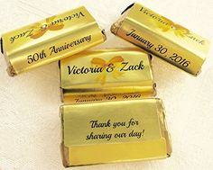 180 GOLD FOIL 50th 60th 70th etc WEDDING ANNIVERSARY Candy wrappersstickerslabels for your HERSHEY MINIATURES Chocolates Personalized Favors for any Party or Event -- Read more  at the image link.
