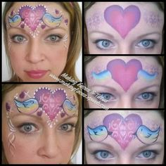 Love birds face painting for Valentine's Day ♡
