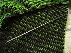 Cro-hook reversible afghan. Cro-hooking makes such a beautifully draping fabric. It's done with the double-ended hook.  Scarves are lovely done with this technique as you can see both sides of the work on the wraps of the scarf.