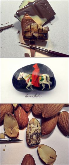 very tiny paintings by Hasan Kale.
