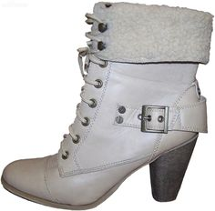 Size 10 EXPRESSION beige laced boots faux fur cuff brass clrd trim sturdy heel by sprocket2chain - $19.80