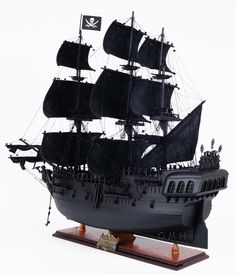 """CaptJimsCargo - Replica Black Pearl Caribbean Pirate Ship Model Wood Sailboat 35"""", (http://www.captjimscargo.com/model-pirate-ships/replica-black-pearl-caribbean-pirate-ship-model-wood-sailboat-35/) This Pirate Ship model is built exactly to scale as the original replica Black Pearl used in the movie """"Pirates of the Caribbean"""" was with lots of detail."""