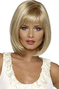 $15.16 Charming Short Silver Blonde Straight Synthetic Wig With Full Bang For Women