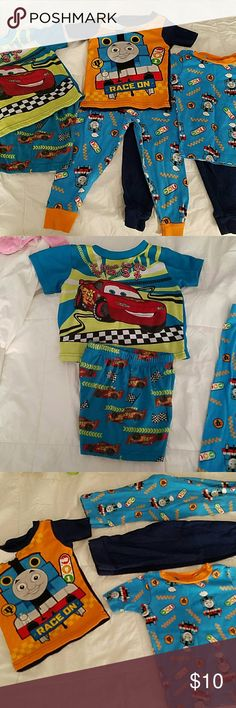 Set of Thomas and Friends jammies These say 3t but the run small. My little guy wore them between 24m and 2t. He is 3t now and his belly shows. Great condition, no stains or tears. FREE set of Cars jammies included. They are a shorts set as pictured. Thomas & Friends Pajamas Pajama Sets