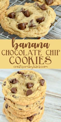Recipe for the best chewy banana chocolate chip cookies They are egg-free and so yummy Everyone loved these banana cookies bananachocolatechipcookies bananacookies overripebananas bananarecipe creationsbykara Banana Chocolate Chip Cookies, Chocolate Cookie Recipes, Easy Cookie Recipes, Healthy Banana Cookies, Cookies With Bananas, Banana Cupcakes, Recipe With Ripe Bananas, Recipes With Old Bananas, Baking With Bananas