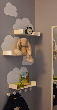 Cloud shelves for the kids room - just a little bit of white paint and some simple and inexpensive bathroom shelves from Ikea (Enudden series) Baby Bedroom, Baby Boy Rooms, Baby Room Decor, Nursery Room, Kids Bedroom, Nursery Decor, Kids Rooms Decor, Kids Room Furniture, Room Baby