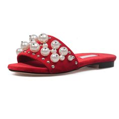 >> Click to Buy << High quality velvet shoes woman fashion pearl String Bead summer slippers women slides sandals big size women shoes Flats Slides #Affiliate