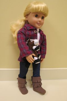 Handmade Flannel Shirt, Jeans w/Laughing Horse for Our Generation, My Life & American Girl Dolls